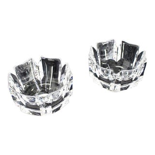 Mid Century Vintage Orrefors Heavy Crystal Bowl Vases- A Pair For Sale