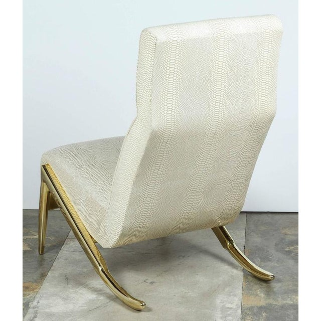 Paul Marra Slipper Chair in Brass with Faux Python - Image 4 of 10