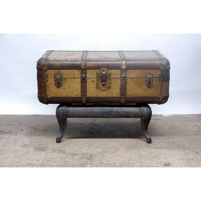 Brown Early 20th Century Indestructo Trunk on Industrial Stand For Sale - Image 8 of 8