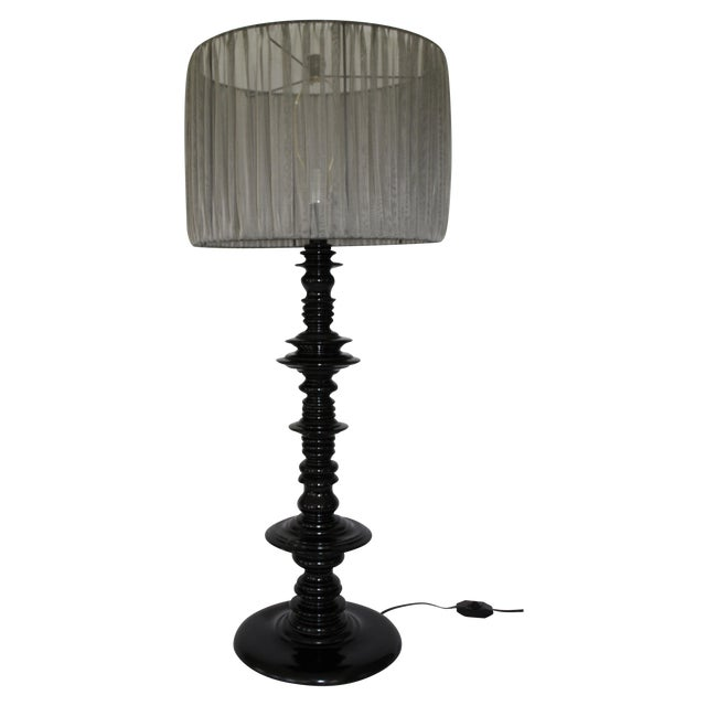 Large Scale Lacquered Wood Spindle Lamp For Sale In Los Angeles - Image 6 of 6