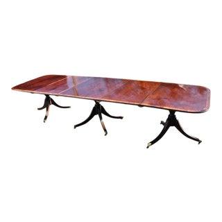 Early 20th Century Regency Style Mahogany 3 Pedestal Dining Table