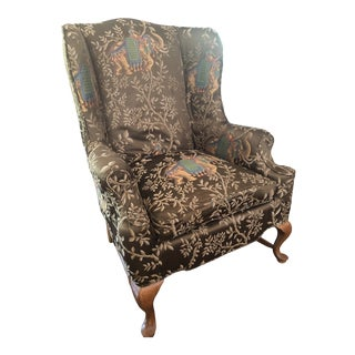 Newly Upholstered Vintage Wingback Chair For Sale