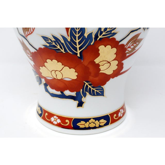 Vintage Ginger Jar With Hand-Painted Rust, Blue and Gold Flowers For Sale In Tampa - Image 6 of 11