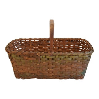 Antique Hand-Made New England Splint-Wood Gathering Basket For Sale
