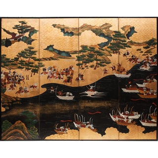 Battle of Yashima Taishō Era Japanese Byobu Screen For Sale