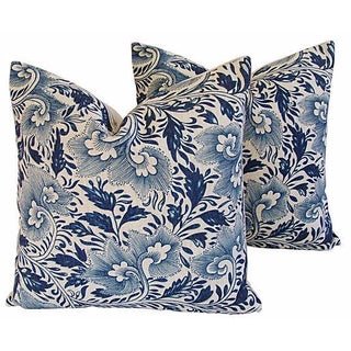 "Indigo Blue Floral Linen Feather/Down Pillows 20"" Square - Pair For Sale"