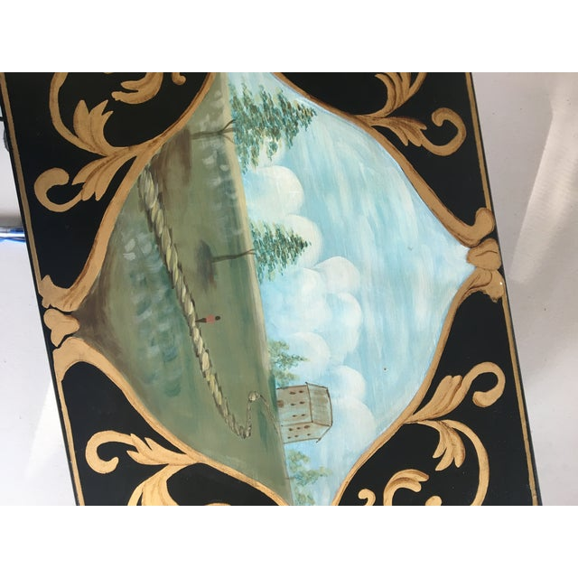 Metal Antique Box With Landscape and Gold Trim Hand Painted Details For Sale - Image 7 of 9