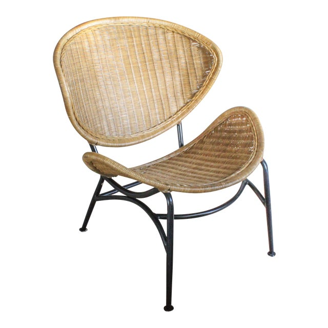 """Salterini Style Whicker """"Orbit"""" Shell Chair For Sale"""