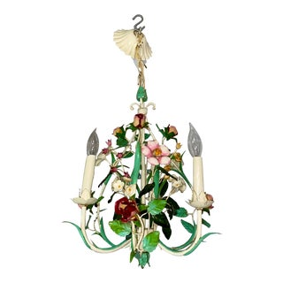 1940s Vintage Three Light Tole Flower Chandelier For Sale
