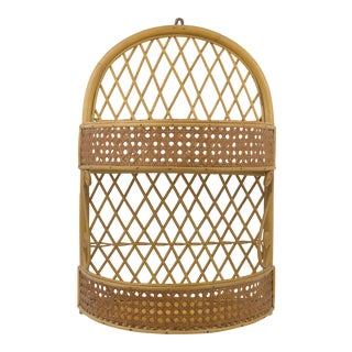 1970s Vintage Rattan and Cane Wall-Mounted Organizer For Sale