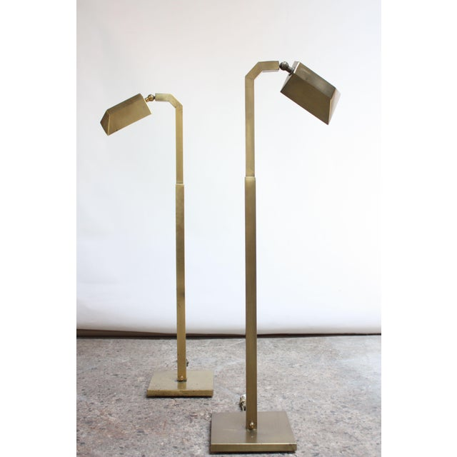 Pair of 1970s Patinated Brass Chapman Floor Lamps For Sale - Image 13 of 13