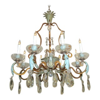 1920s Vintage French Maison Baguès Crystal Gilt Iron Chandelier For Sale