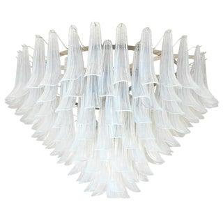 Italian Murano Opaline Selle Glass Chandelier by Mazzega For Sale
