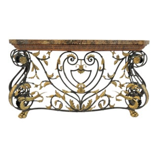 Maitland Smith Jansen Style Marble Top Console Table For Sale