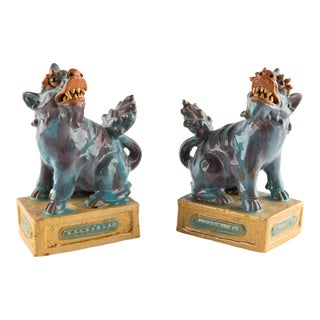 Antique Shiwan Pottery Foo Dogs For Sale