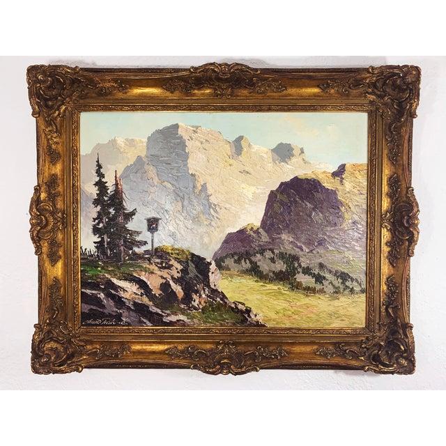 Large Framed Mountain Scene Oil Painting in Gilt Gold Frame For Sale - Image 13 of 13