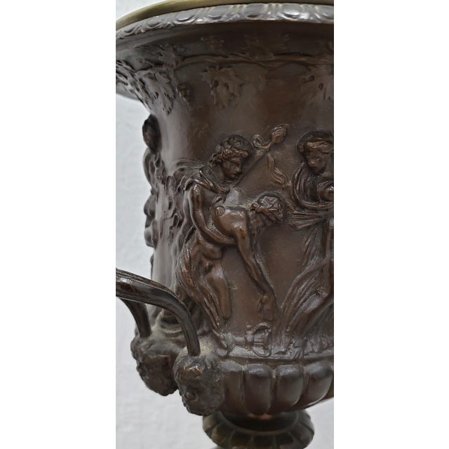 Vintage Classical Roman Bronze Urns & Marble Table Lamps - a Pair For Sale - Image 9 of 11