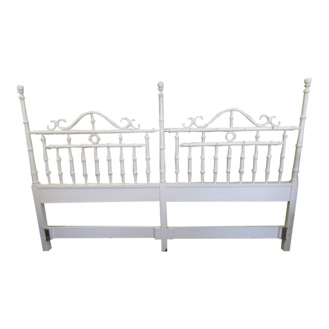 1970s Faux Bamboo King Size Headboard For Sale