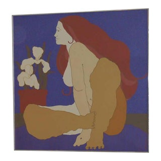 Large Italian Painting of Nude and Orchids, 1970s For Sale