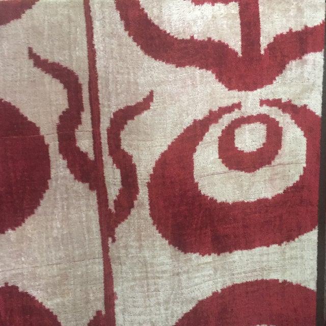 Silk Silk Velvet Ikat Ottoman Fabric Wall Art Hangings - A Pair For Sale - Image 7 of 11