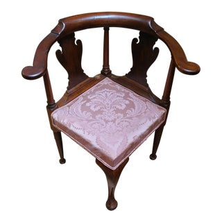 Mid 18th Century Antique Queen Anne Style Corner Chair For Sale