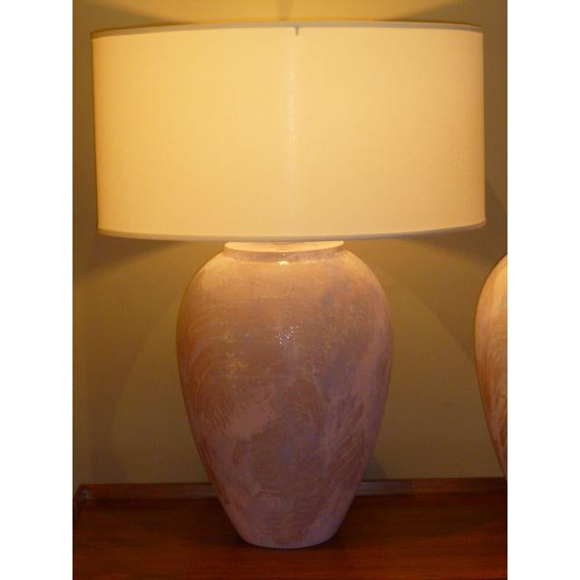 Sunset Lamps 1980s Mid-Century Modern Sunset Lamps Glazed Oil Jar Form Table Lamps - a Pair For Sale - Image 4 of 7
