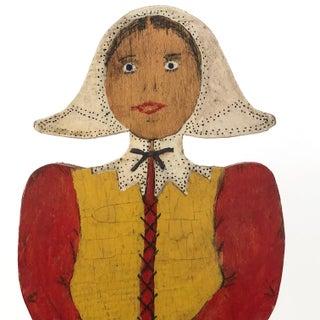 Folk Art Dutch Woman Hand-Painted Wooden Doorstop Preview