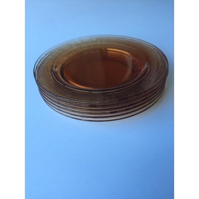 Antique Fleur De Lis Etched Amber Glass Tableware Set - Set of 37 For Sale - Image 10 of 11