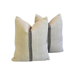 "French Homespun Grain Sack Feather/Down Pillows 19"" x 22"" - Pair"