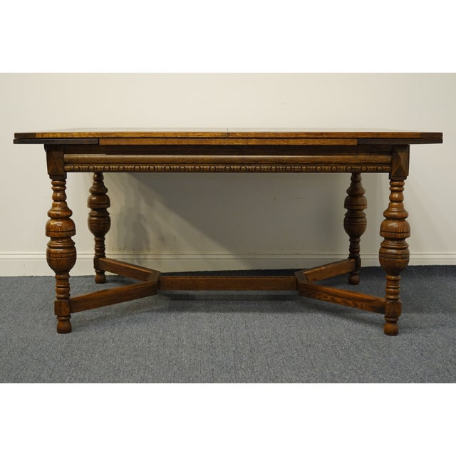 """Vintage Antique Oak English Revival Gothic Jacobean 84"""" Draw Leaf Dining Table For Sale - Image 4 of 11"""