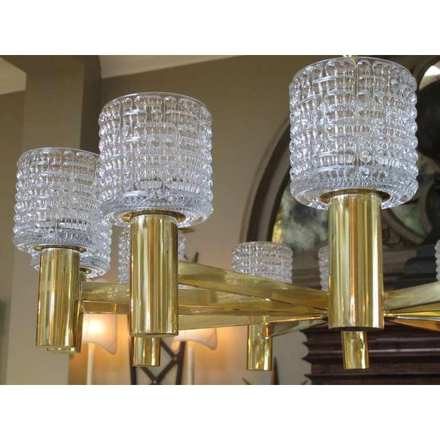 Orrefors Large-Scale Swedish Chandelier With Cut Crystal Shades by Orrefors For Sale - Image 4 of 6
