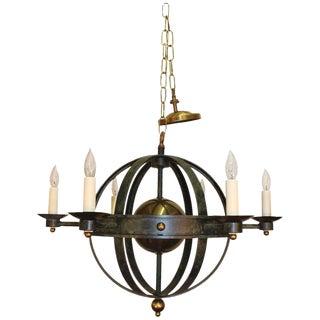 Orbit Form Spherical Globe Verdigris Metal and Brass Chandelier