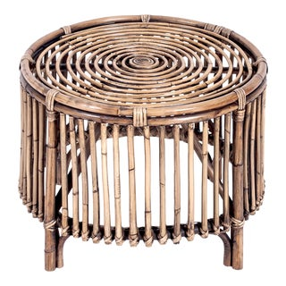 Boho Round Side Table, Camel, Rattan For Sale