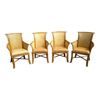 Classic Rattan Arm Chairs with Padded Tan Leather Seats - Set of 4