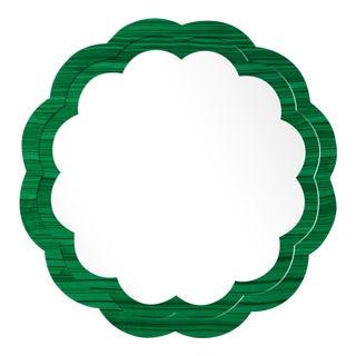 Fleur Home x Chairish Audobon Peony Circle Mirror in Malachite, 36x36 For Sale