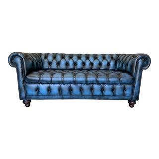 Vintage Mid-Century English Leather Chesterfield Tufted Seat 3 Seat Sofa, Blue For Sale