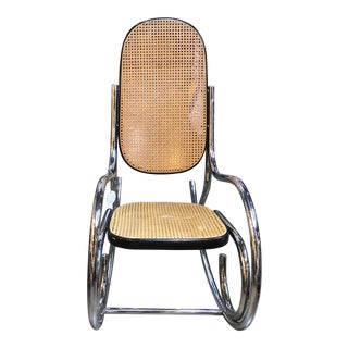 1970s Marcel Breuer Style Scrolled Chrome + Cane Rocking Chair For Sale