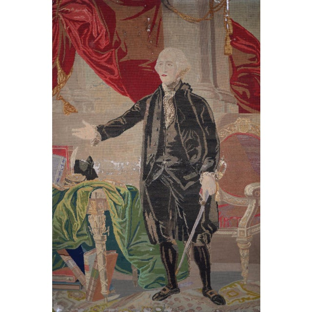 George Washington Hand Embroidered Tapestry C. 1850s For Sale In San Francisco - Image 6 of 13