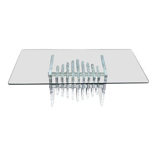 1970s Art Deco Lucite Cocktail Table For Sale