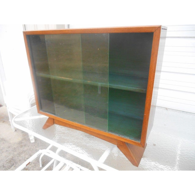 Brown 1930's Art Deco Petite Sliding Glass Door Bookcase For Sale - Image 8 of 8
