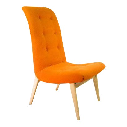Norman Bel Geddes Mid-Century Modern Orange Side Chair - Image 1 of 9