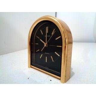 Vintage Seiko Quartz Gold & Black Small Table Mantle Clock Preview