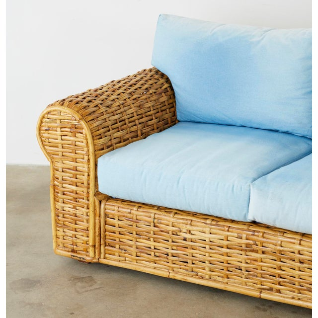 Ralph Lauren Woven Rattan Sofa With Blue Ombre Upholstery For Sale - Image 10 of 13