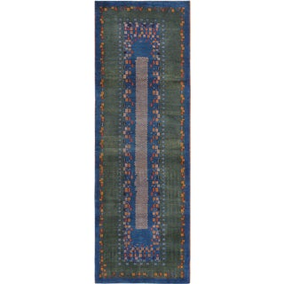 Contemporary Gabbeh Inspired Lamb's Wool Runner - 2′8″ × 8′3″ For Sale