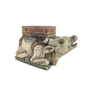 Rustic Carved Hand Painted Wood Bull Box For Sale