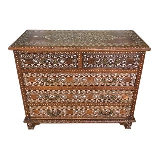 Exquisite Chest of Drawers With Bone Inlays and Marquetry Designs, 1970's For Sale