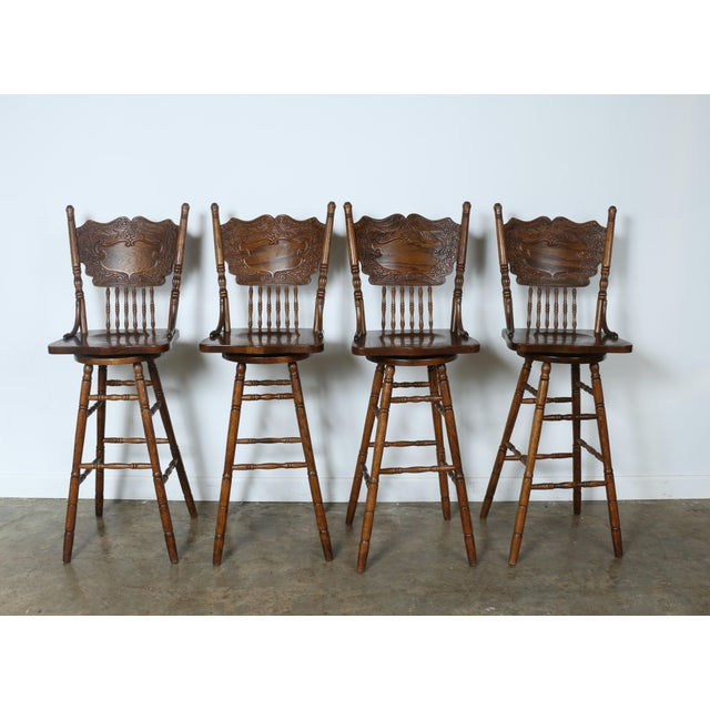 Country Style Solid Oak Bar Stools - Set of 4 - Image 3 of 9
