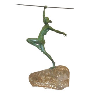 Art Deco Style Bronze Female Roman Warrior With Spear on Carved Stone - 50th Anniversary Sale For Sale