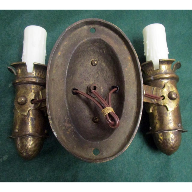 1910s Arts & Crafts Hammered Brass Double Candle Sconce by Biddle and Gaumer - Set of 3 For Sale - Image 10 of 11