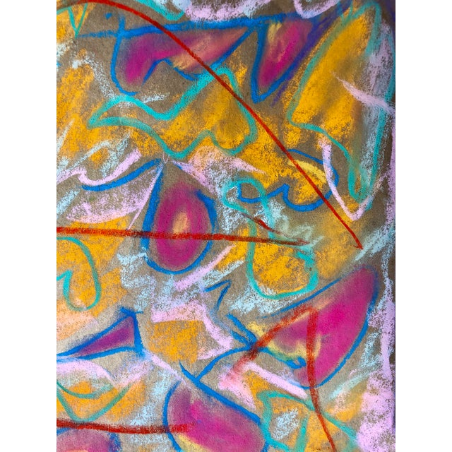 Abstract Abstract #93 Original Pastel Drawing by Erik Sulander 14.5 X12 For Sale - Image 3 of 5